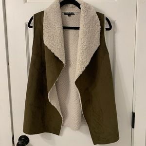 Olive Suede and Sherpa Vest